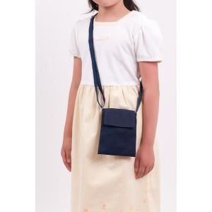 紺色布製ポシェット 小 スマートフォンやキッズケータイの持ち歩きにも 付けポケット 移動ポケット|happy-clover