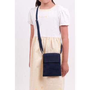 紺色布製ポシェット 大 スマートフォンやキッズケータイの持ち歩きにも 付けポケット 移動ポケット|happy-clover