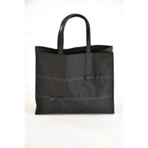 お受験 バッグ ママ サブバッグ 横型 横 リボンサブバッグ グログランリボン3段 幅広リボン 紺 黒 マチ付き b4 ナイロン お受験バッグ|happy-clover|03