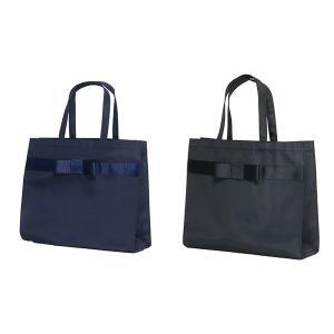 お受験 バッグ ママ サブバッグ 横型 横 リボンサブバッグ グログランリボン3段 幅広リボン 紺 黒 マチ付き b4 ナイロン お受験バッグ|happy-clover|04