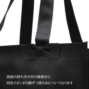 お受験 バッグ ママ サブバッグ 縦型 縦 リボンサブバッグ  Lサイズ 紺 黒 マチ付き B4 お受験バッグ お母様用 バック|happy-clover|05