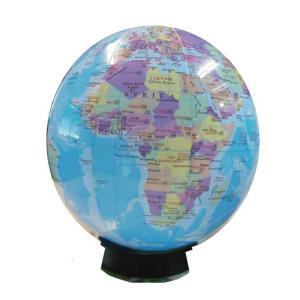 置き場所に困らない 英語表記のビーチボール地球儀 球径30cm 台座 世界の国旗ポスター付