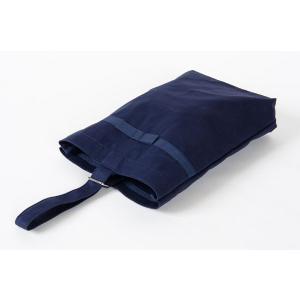 リボン付き 紺色布製シューズバッグ お子様用|happy-clover