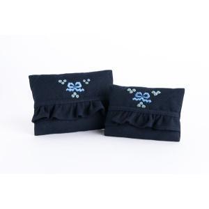 手刺繍ティッシュケース リボンブルー 2サイズ|happy-clover