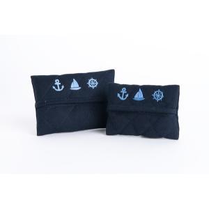 手刺繍ティッシュケース マリン 2サイズ|happy-clover
