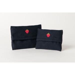 手刺繍ティッシュケース いちご 2サイズ|happy-clover