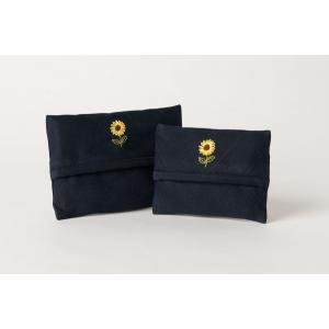 手刺繍ティッシュケース ひまわり 2サイズ|happy-clover