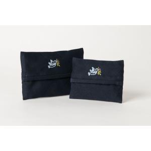 手刺繍ティッシュケース 青い鳥 2サイズ|happy-clover