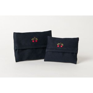 手刺繍ティッシュケース さくらんぼ 2サイズ|happy-clover