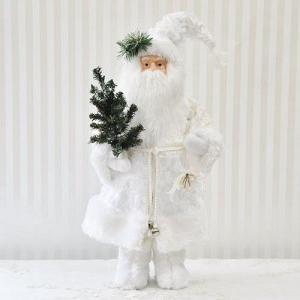 スタンディングサンタクロース:ホワイト(高さ48センチ)(13xs011)|happy-goods