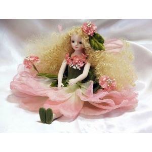 若月まり子 お花の妖精人形エルフィンフローリー:レースフラワー(ピンク)ビスクドール 妖精 フラワーフェアリー 陶器 お人形 ギフト お祝い 記念品|happy-goods