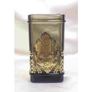 ガラスタンブラー:スモーキーブラック小物入れ ビン おしゃれ 収納 ガラス(ara001)|happy-goods