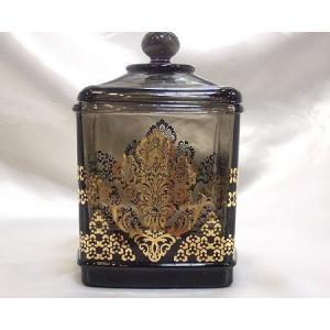 ガラスキャニスター:スモーキーブラック小物入れ ビン おしゃれ 収納 ガラス(ara002)|happy-goods