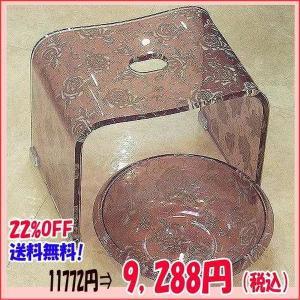 バラ柄アクリルバスチェア&洗面器Mサイズセット(パープルラメローズ)風呂いす アクリル セット 薔薇 お手入れ簡単 激安 風呂椅子 happy-goods