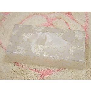バラ柄アクリルティッシュボックス(ホワイトラメローズ:A)薔薇 ティッシュボックスカバー(bara007a)|happy-goods