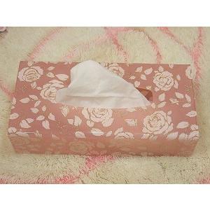 バラ柄アクリルティッシュボックス(ローズシモーヌ)薔薇 ティッシュボックスカバー(bara007b)|happy-goods