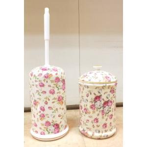 セットで買うと陶器のトイレブラシ・ポットセット:リトルローズトイレブラシ おしゃれ トイレブラシホルダー 陶器 トイレ お掃除 トイレ用品(bara011|happy-goods