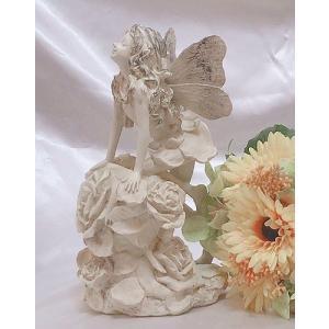 シルエットが素敵なフェアリー♪バラの上の妖精(アイボリー)(fa004)|happy-goods