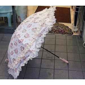 薔薇とレースの日傘:ピンク(晴雨兼用)日傘 雨傘 晴雨兼用 レース 薔薇 プレゼント 母の日 happy-goods