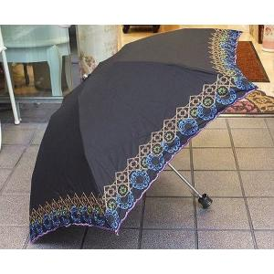 刺繍入り折りたたみ日傘:ブラック(晴雨兼用)レース 花柄 日傘 雨傘 晴雨兼用 プレゼント おしゃれ コンパクト 母の日 happy-goods