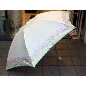 刺繍入り折りたたみ日傘:ホワイト(晴雨兼用)レース 花柄 日傘 雨傘 晴雨兼用 プレゼント おしゃれ コンパクト 母の日 happy-goods