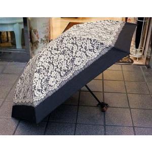 リバーレースプリント折りたたみ日傘:ブラック(晴雨兼用)レース 花柄 日傘 雨傘 折りたたみ 晴雨兼用 プレゼント おしゃれ コンパクト タッセル happy-goods