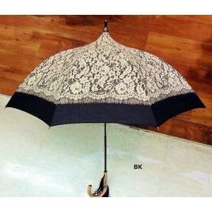 リバーレースプリント日傘:ブラック(晴雨兼用)日傘 雨傘 晴雨兼用 レース パゴタ型 プレゼント タッセル happy-goods