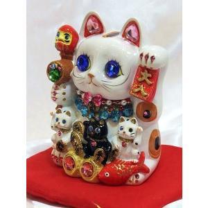 デコレーションがパワーアップしました!ゴージャス デコレーション  招福招き猫:Mサイズ(貯金箱)商売繁盛 開店祝い 御祝 縁起物 デコ  置物|happy-goods