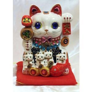 デコレーションがパワーアップしました!ゴージャス デコレーション  招福招き猫:Lサイズ(貯金箱)商売繁盛 開店祝い 御祝 縁起物 デコ  置物 happy-goods