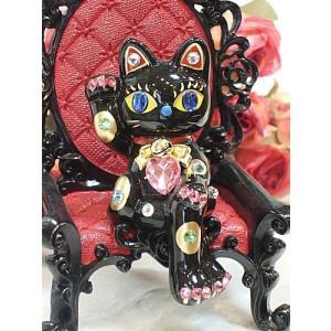 ラインストーンのデコレーションがかわいいお座り招き猫:ブラック商売繁盛 開店祝い 合格祈願 御祝 内...