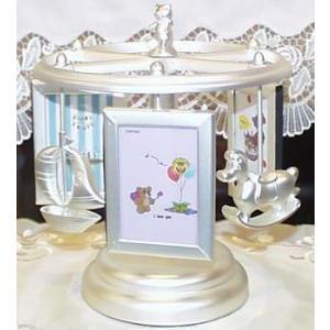 オルゴールの音色がやさしい♪メリーゴーランドベビーフォト出産祝い 写真立て  オルゴール プレッゼント おすすめ メリーゴランド ギフト フォトフレ|happy-goods