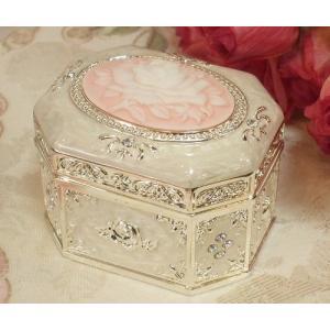 ローズカメオオルゴールボックス(ホワイト)(ol007)|happy-goods