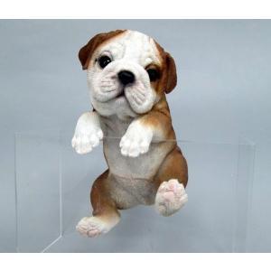 アニマルオブジェ ハンギングドッグ:ブルドッグ犬 置物 インテリア 動物 オブジェ 子犬|happy-goods