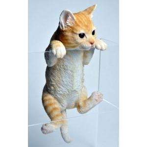アニマルオブジェ ハンギングキャット:トラ猫 置物 インテリア 動物 オブジェ キャット|happy-goods