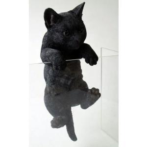 アニマルオブジェ ハンギングキャット:黒猫猫 置物 インテリア 動物 オブジェ キャット|happy-goods