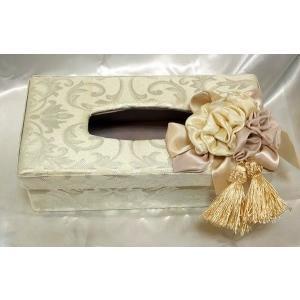 出し入れが簡単♪デコレーションティッシュボックス(ハードタイプ):ホワイト薔薇 ティッシュボックスカバー|happy-goods