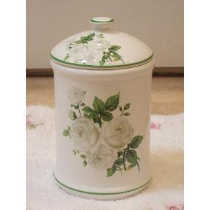 陶器のサニタリーポット:ホワイトローズBサニタリーポット 陶器 トイレブラシ おしゃれ お掃除 汚物入れ トイレ用品(toi005pot)|happy-goods