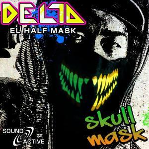 音に反応して光る ELハーフマスク DELTA  スカルマスク  光マスク サウンドアクティブ スカル ガスマスク LED マスク ステージ衣装|happy-joint