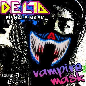 ELハーフマスク DELTA バンパイアマスク ハロウィン コスプレ 衣装 光るマスク バンパイア 吸血鬼 ドラキュラ LED マスク ステージ衣装 ライブ衣装 光る|happy-joint
