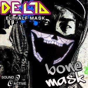 ELハーフマスク DELTA ボーンマスク ハロウィン コスプレ 衣装 光るマスク ボーン ガイコツ ドクロ 骸骨 髑髏 LED マスク ステージ衣装 ライブ衣装 光る|happy-joint