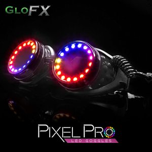 GloFX Pixel Pro LED ゴーグル  光る ゴーグル スチームパンク ミニオンズ led メガネ 光るグッズ フェス ファッション EDM パーティー パリピ ダンス ダンサー|happy-joint
