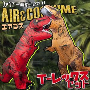 《2体セット》エアコス Tレックス エアーザウルス 恐竜 怪獣 モンスター ハロウィン コスプレ 面白い 衣装 おもしろ コスチューム 空気 膨らむ|happy-joint