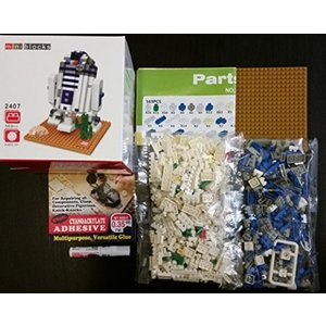 パズル 3-DパズルStar Wars R2D2 mini blocks character 3D puzzle brain teaser challenge (assembly required): tiny, cute, plastic building blocks for