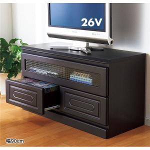 素敵なフラップ扉デザインテレビ台/テレビボード 〔幅90cm〕 クロスガラス使用 引き出し収納付き