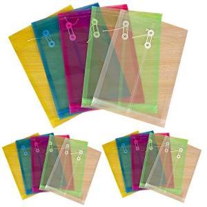 フェリモア クリアファイル ドキュメントケース A4 クリアホルダー マチ付き 玉紐 書籍 郵便 (5色セット) happy-square