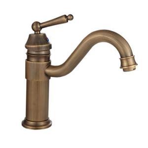HAMILO 混合水栓 シングルレバー 立水栓 蛇口 レトロ調 アンティーク調 洗面台 手洗い (アンティークゴールド)|happy-square