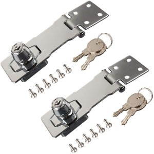 フェリモア 掛金錠 引き出しロック 鍵つき 留め金 ドア キャビネット 収納箱 後付け 2個セット|happy-square