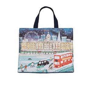 英国 Harrods [ハロッズ] 2019年 クリスマスのハロッズ グローサリー キャンバス ショッピングバッグ ハロッズのリ|happy-square