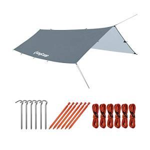KingCamp タープ 防水 キャンプ 軽量 3*4m天幕シェード 日除け 紫外線カット 携帯便利 多機能タープ アウトドア 屋外 収納袋付|happy-square