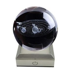 フェリモア 3Dクリスタルボール 天体模型 太陽系 レーザークリスタル 置物 LEDコースター付 (クリア)|happy-square